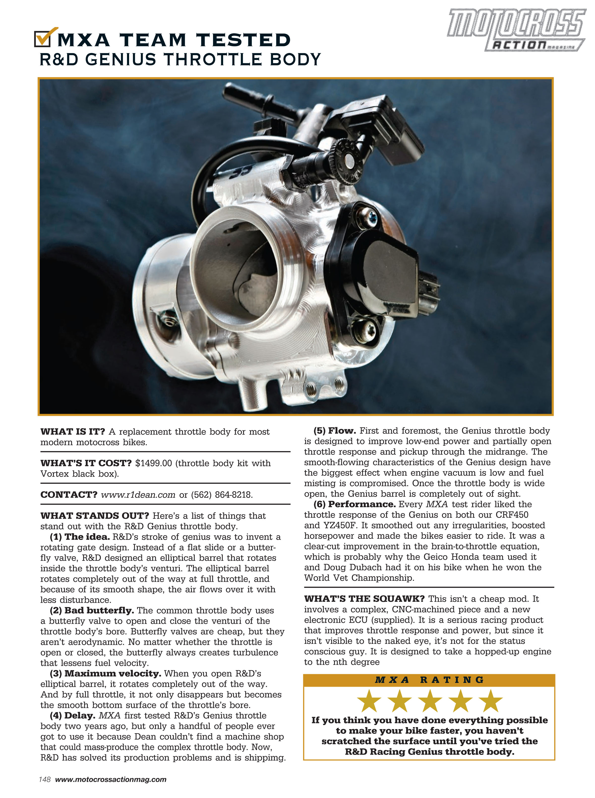 MXA Team Tested R&D Genius Throttle Body